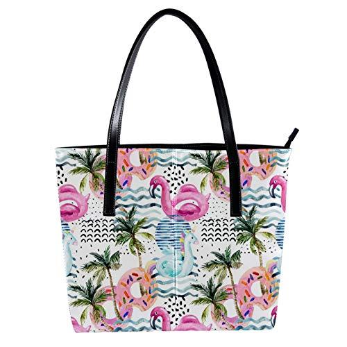 LORVIES Aquarelle Schwimmende Palmen Flamingo Donut Schultertasche PU Leder Handtasche Handtasche Damen