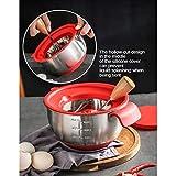 Amuzocity Cuencos De Mezcla Antideslizantes De Acero Inoxidable para Utensilios De Cocina para Ensaladas - Rojo, 8x8x24inch