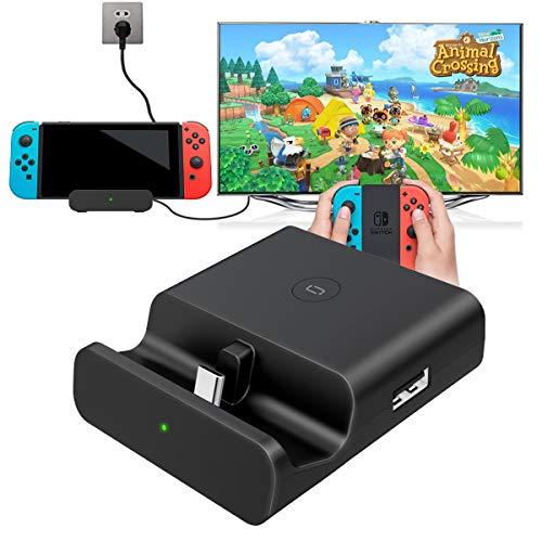 MISSJJ Switch Dock, Base de Carga para Nintendo Switch Base Soporte Portátil con Soporte de Carga USB-C PD, con Adaptador HDMI 4K/1080P, USB 3.0 y USB 2.0, Compatible con Nintendo Switch