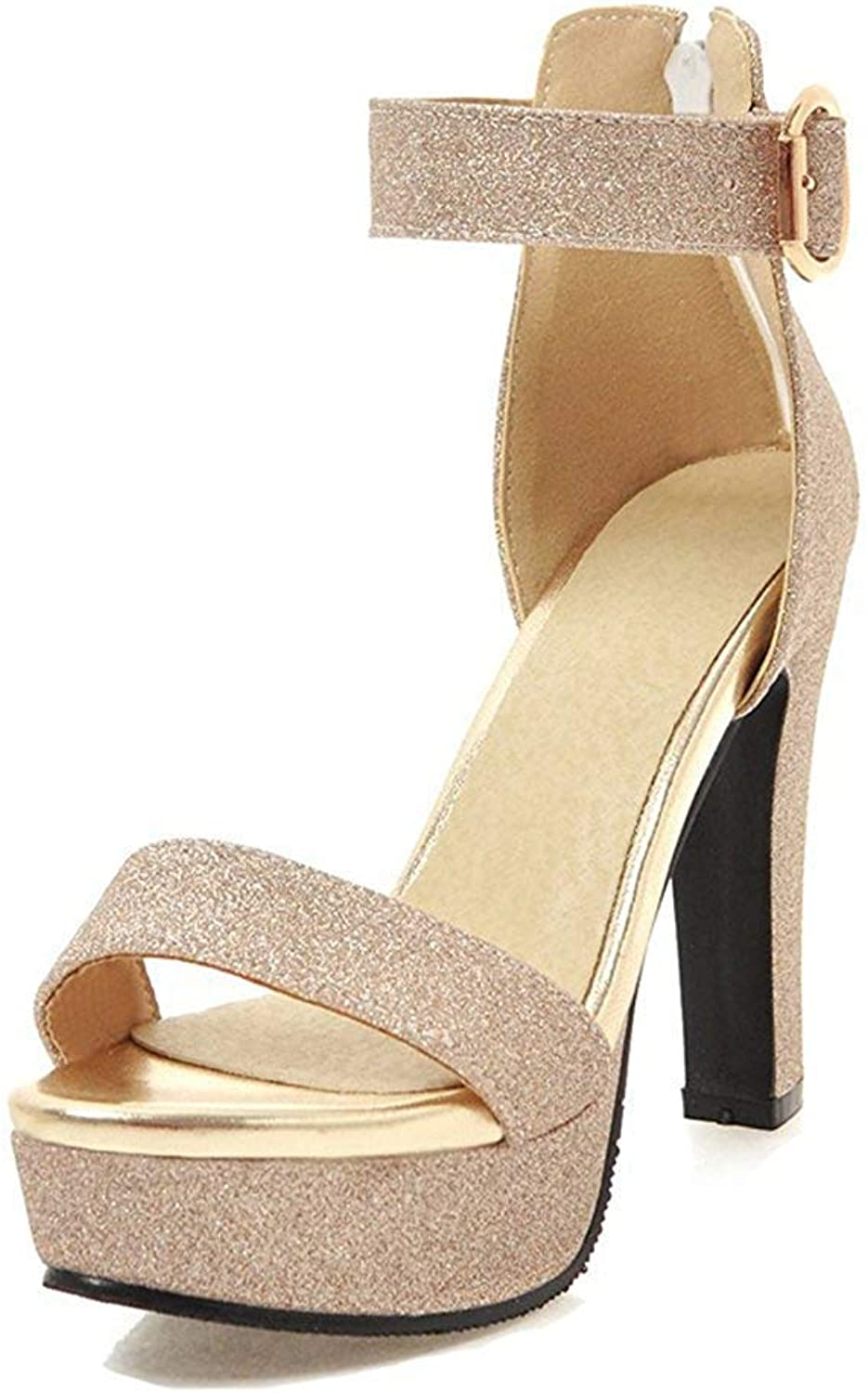 Unm Women's Platform Sandals with Zipper - Open Toe Ankle Strap Chunky Evening - Bridal High Heel Buckle