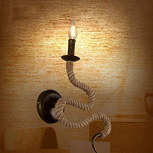 Decoratie American Retro E14 smeedijzeren henneptouw wandlamp stralingsoppervlak 3-8 vierkante meter wandlamp henneptouw aan de rechterkant verlichting lampen bar café restaurant slaapkamer vill