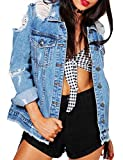 SOMTHRON Women's Distressed Denim Jeans Outfits Coat Spring Fall Ripped Jeans Outerwear Denim Jacket(324BE-L)