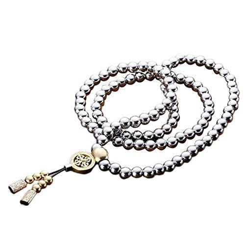 Catena della collana di autodifesa 108 perline di Buddha, Accessori per autodifesa in acciaio inossidabile al titanio con frusta metallica in acciaio inossidabile Self Defence Necklace Chain (Style_B)