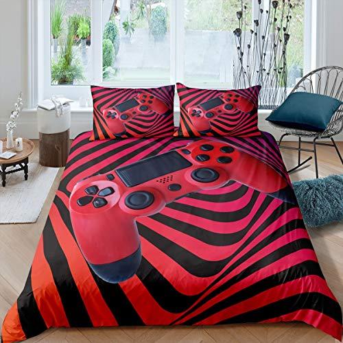 Gamepad Bedding Set Gamer Kids Boys Teens Games Comforter Cover Video Game Gamepad Duvet Cover Boho Psychedelic Geometric Stripe Room Decor 2Pcs Bedding Single Size,Black Red