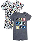 Disney Baby Boys' Mickey Mouse 2 Pack Short Sleeved Romper with Snap Closure (Newborn/Infant), Size 0-3 Months, Dark Grey/White Multi Mickey