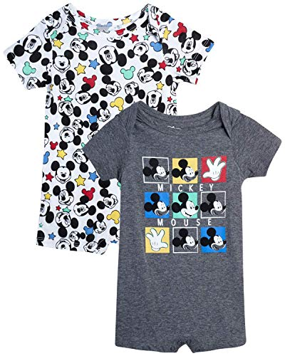 Disney Baby Boys' Mickey Mouse 2 Pack Short Sleeved Romper with Snap Closure (Newborn/Infant), Size 24 Months, Dark Grey/White Multi Mickey
