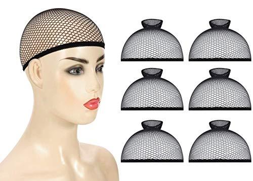 Gorros de peluca,6 PCS malla negra Gorras de peluca de extremo abierto elásticas Redecilla de redecilla de malla elástica altamente elástica para Hombre y Mujer
