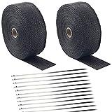 Deecam Hitzeschutzband Basaltfaser Auspuffband 2 Stück 15m mit 24 Edelstahl...