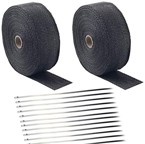 Deecam Hitzeschutzband Basaltfaser Auspuffband 2 Stück 15m mit 24 Edelstahl Kabelbinder für Motorrad Fächerkrümmer Thermoband Krümmerband (Schwarz-2 Stück+24 Kabelbinder)