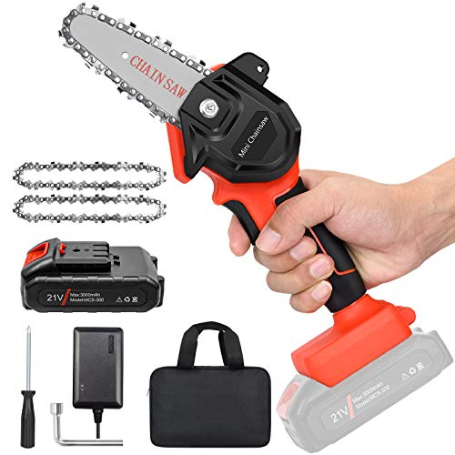 "Mini Cordless Chainsaw Kit, Upgraded 4"" One-Hand Handheld Electric Portable Chainsaw, 21V Rechargeable 3000mAh Battery Operated, for Tree Trimming and Branch Wood Cutting by New Huing"
