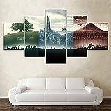 XLST Modern Wandkunst Segeltuch Herr der Ringe Film 5 Stück Segeltuch Poster Kunstmalereifür Wohnzimmer Zuhause Dekor,B,40X60X240X80X240X100X1