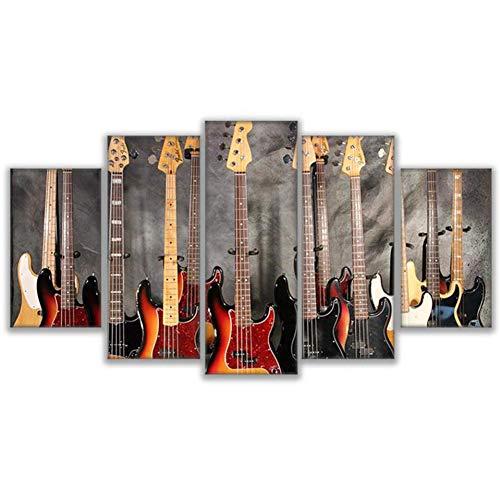 QAZWSY Canvas Foto's Muur Kunst 5 Stuks Muziekinstrument Gitaar Schilderijen Huisdecoratie Bas Gitaar Collage Posters 20x35 20x45 20x55 CM No Frame