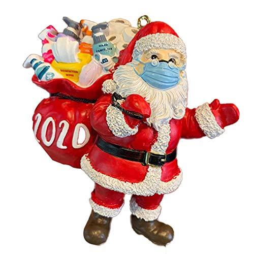 Tantrum Tow Ropes 2020 Christmas Ornament Covid Santa Claus with Mas'k Quarantine Keepsake Toilet Paper Christmas Ornaments for Tree Decoration (1Pcs Santa Claus)