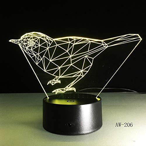 3D Nachtlicht,Optische Illusion Led Nachtlampe Usb Tischlampe, Für Kinder Weihnachten Geburtstag Beste Geschenk Spielzeug Sternbild Vogel