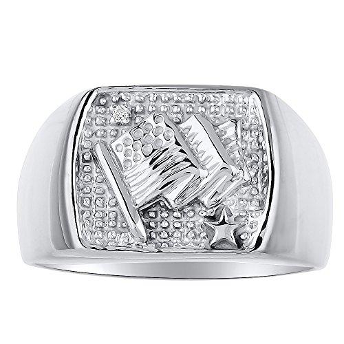 RYLOS Mens Rings 14K White Gold - Diamond Ring Lucky Pinky Ring - Patriotic U.S. Flag Rings For Men Mens Jewelry Gold Rings