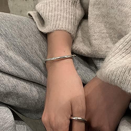 Pulsera de plata de ley 925 1314 para mujer, pulsera abierta de temperamento de baile de hip hop brillante minimalista de moda para mujer