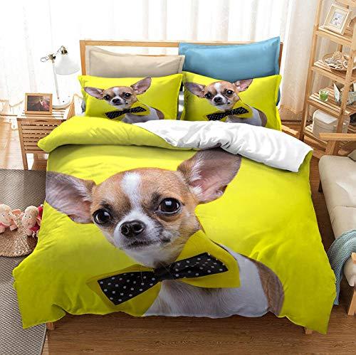 ZYNYHGS Animal Pug Funda nórdica 3D, Funda de edredón para niños, Adultos y Adolescentes, Kit de Ropa de Cama Suave y cómodo para niños y niñas, Textiles para el hogar-C_230x260cm (3pcs)