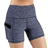 ODODOS High Waist Out Pocket Yoga Short Tummy Control Workout Running Athletic Non See-Through Yoga Shorts,NavyHeather,Medium