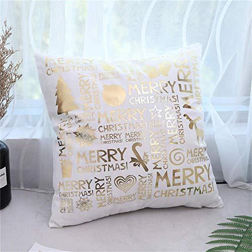 Zhong Shan Funda de cojín para el día de Navidad, diseño de árbol de Ciervo de Santa, Funda de Almohada Suave para el hogar, sofá, Dormitorio, Funda de Almohada Decorativa Negra