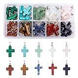 PandaHall 50 Uds 10 Colgantes de Piedras Preciosas Cruzadas de Piedra de Color encantos de curación de Cuarzo Cruzado para Collar, Pendiente, Pulsera