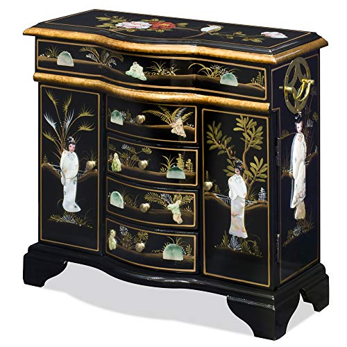 China Furniture Online Wooden Oriental Jewelry Chest, Black Lacquer Chinoiserie with Pearl Maidens