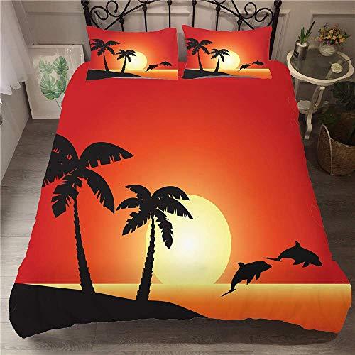 3D Effect Printed Bedding Set, Microfiber Hawaiian style Duvet Cover Set Quilt Cover with Zipper +50x75 Pillow Case Super Soft Comfortable (Single 3pcs-135x200+50x75cm,Hawaiian style)