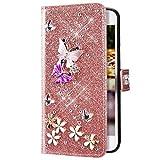 Uposao Compatibile con Huawei P20 Pro Glitter Cover Portafoglio Disegno Brillantini Diamond 3D Farfalla Fiore a Libro in PU Pelle Libretto Magnetica Custodia con Supporto Antiurto Protettiva,Oro Rosa