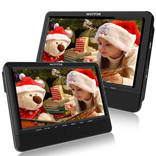 WONNIE 10.1' Reproductor de DVD Portátil con 2 Pantallas Soporta Tarjeta SD/USB para Reposacabezas de Coche con Mando a Distancia