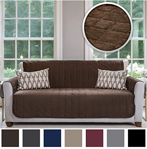 Gorilla Grip Original Velvet Slip Resistant Large Sofa Protector for Seat Width up to 70 Inch, Patent Pending Furniture Slipcover, 2 Inch Straps, Couch Slip Cover Throw for Pets, Dogs, Sofa, Chocolate