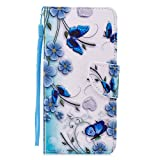 Sunrive Hülle Für Xiaomi Mi A2 / Mi 6X, Magnetisch Schaltfläche Ledertasche Schutzhülle Etui Leder Hülle Cover Handyhülle Taschen Schalen Lederhülle(Blauer Schmetterling)+Gratis Eingabestift