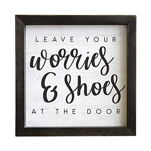 """Simply Said, INC Rustic Frames, Leave Worries & Shoes at The Door-10""""x10"""" Wood Sign RF1209"""