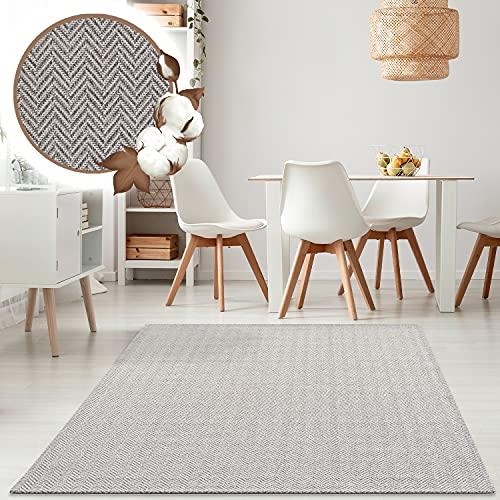 payé Alfombra de salón – Alfombra de algodón – antracita 150 x 230 cm Boho rústico Skandi estilo decorativo dormitorio