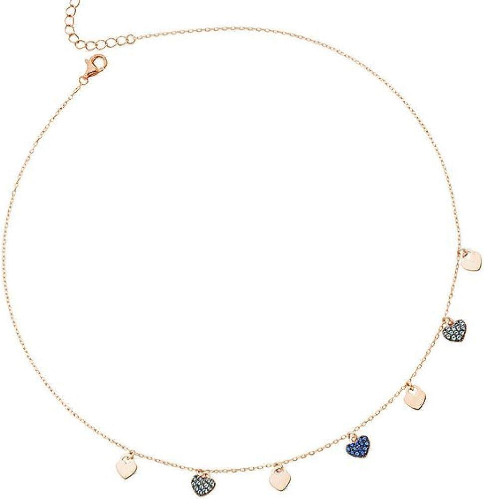 Boccadamo,collana per donna,in argento 925 placcata oro rosa,con zirconi GGR001RS