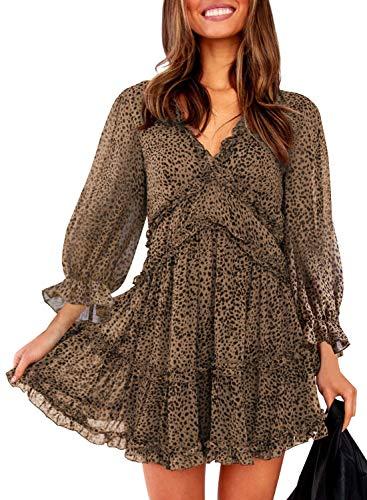 Dokotoo Womens Casual Spring Summer Leopard Print Deep V Neck Long Sleeve Short Mini Skater A Line Dresses L