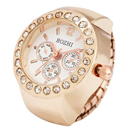 Reloj de anillo de diamantes de oro rosa para mujer, único falso de tres ojos de esfera blanca para mujer, anillo elástico para niñas