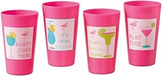 Midwest Pink Flamingo Sayings Disposable Plastic Party Cups Water Wine Beverage Glasses Plastics for Parties Supplies Cocktail BPA Wedding Drinking Punch Fancy Drink Hard Cup Tumblers Champagne 16 oz