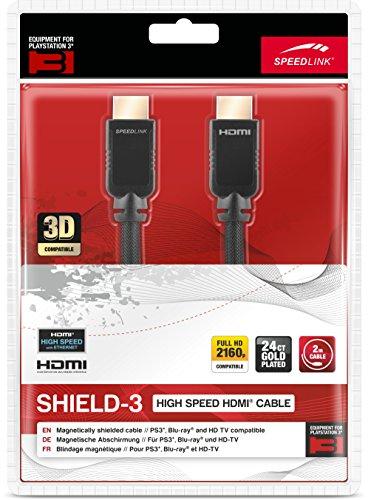 Speedlink HDMI Kabel für PS3 - SHIELD-3 High Speed HDMI Cable with Ethernet - 1440p & 2160p - 2m Kabellänge - schwarz