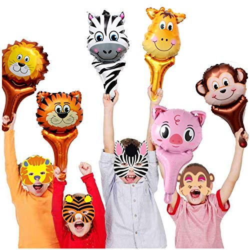 GuassLee Jungle Safari Animal Theme Party Set - 12pcs Handhold Jungle Animal Balloons, 6pcs SafarFoam Animal Masks for Kids Jungle Themed Zoo Animal Birthday Party Supplies