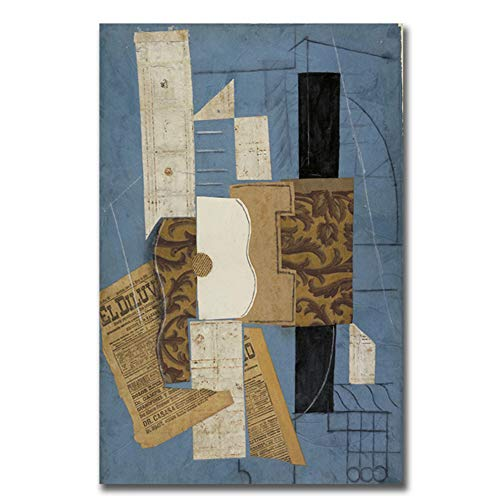 arteWOODS Picasso weltberühmte abstrakte Gitarre Leinwand Malerei Plakate und Drucke Wandkunst Wohnzimmer Schlafzimmer Wohnkultur 50x75cm ungerahmt