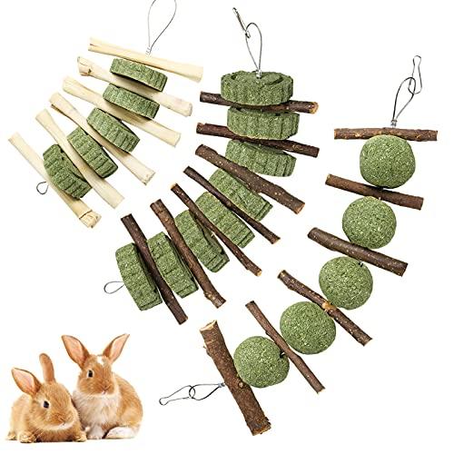 Woiworco 3-teiliges Hasenkauspielzeug, natürliche handgemachte Bio-Holz-Apfelsticks und Timothy Hay Balls, verbessern die Zahngesundheit von Haustieren für Kaninchen, Meerschweinchen, Hamster