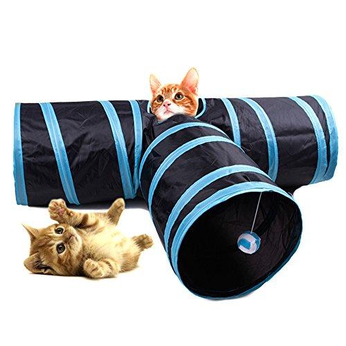 Túnel para gato HYSUNG 3 vías plegable Juego para mascotas Túnel con anillo Sonido divertido Tubo suave para perro Gatito y conejo