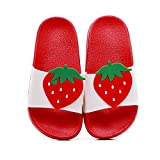 Kids Slide Sandals Lightweight Summer Beach Boys Girls Shower Pool Slipper Non-Slip Cute Fruit Water Shoes (Toddler/Little Kid) (13M US, Strawberry)