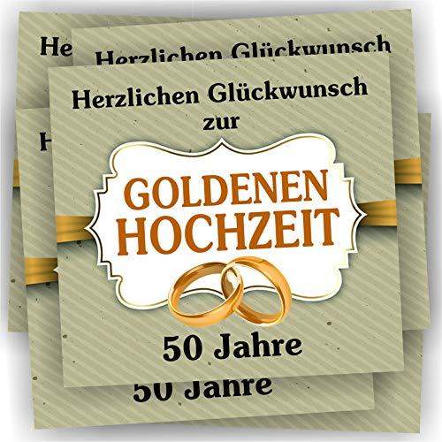 Play-Too 5 Aufkleber Etikett Flasche Sektflasche Weinflasche Hochzeit Fest Goldfarben Ring Ringe 50 Jahre Jubiläum Ehejubiläum Goldene Hochzeit