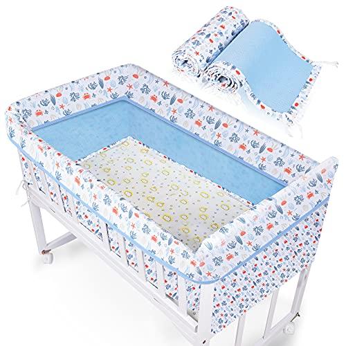 Lictin Tour de Lit Bébé 300 x 20 cm - 2 en 1 Tour de lit Protection Tour de Berceau Respirant la Pour Nouveau-nés Fille et Garçon, Contour de lit Bébé Complet