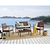 Cherry Tree Furniture Polperro 4 <span class='highlight'>Seater</span> Rattan Effect <span class='highlight'>Sofa</span> <span class='highlight'>Set</span> (<span class='highlight'>Brown</span>)