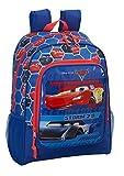 Disney Cars Lightning McQueen - Mochila infantil con compartimento principal y compartimento lateral para bebidas (1), Blau/Rot (809), 14 x 32 x 42 cm, Mochila infantil