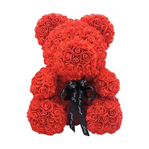 """XIAMUSUMMER Künstliche Rose Bear Handmade 10 """", Rose Teddybär, Romantische Geschenkbox Blumenbär, Seifenschaum Material Bär, Geschenkbox für Valentinstag, Weihnachten, Geburtstage, Hochzeiten"""