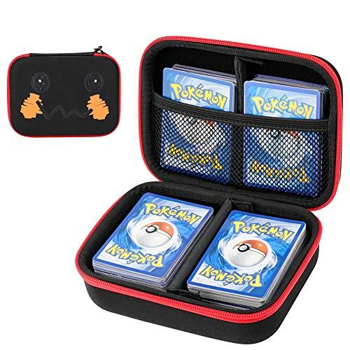 Cpano Bolsa de Almacenamiento de Transporte de Estuche rígido para Tarjetas de Comercio Pokemon ,Se Adapta a hasta 400 Tarjetas,Titular de Juego de Cartas con Divisor extraíble (Caricatura)