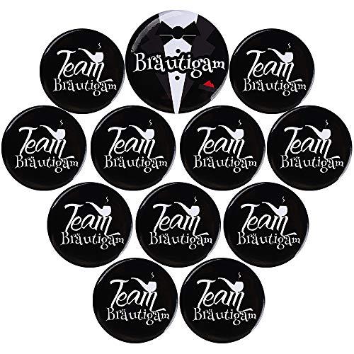 12 Stück JGA Buttons Set für Männer im Vintage Style Coole Bräutigam und Team Bräutigam Buttons zur Bachelor Junggesellenabschied Party Hochzeit Junggesellenabschied Männer Set Anstecker