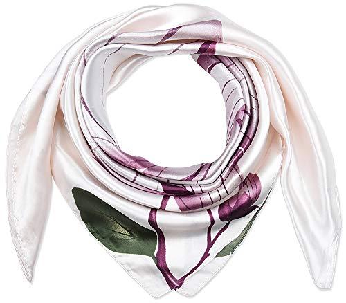 Corciova 35' Women Polyester Silk Feeling Hair Scarf for Sleeping Lavender Blush Lotus